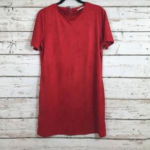 Zara Red Back Zipper Suede Like Dress